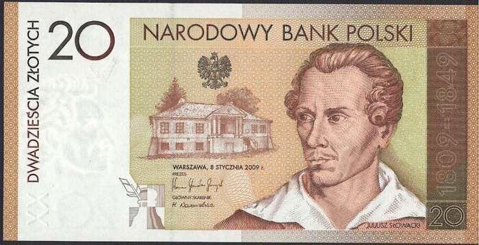 【記念紙幣】ポーランド 20 zlotych 詩人ユリウス・スロワチク生誕200年記念 2009年(ホルダー紙付き)