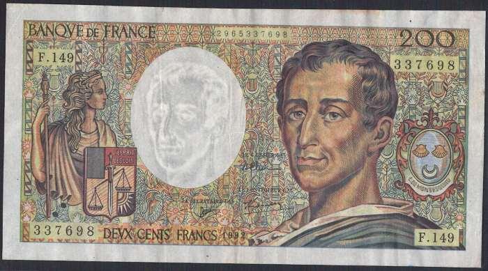 フランス 200 francs 『法の精神』哲学者モンテスキュー 1992年 美++