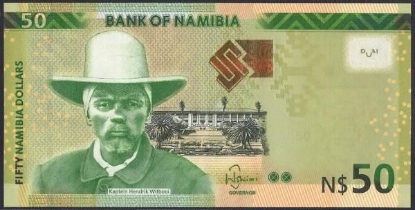 ナミビア 50 dollars ナマ人の指導者ヘンドリック・ウィトブーイ/クーズーの群れ 2012-2016年