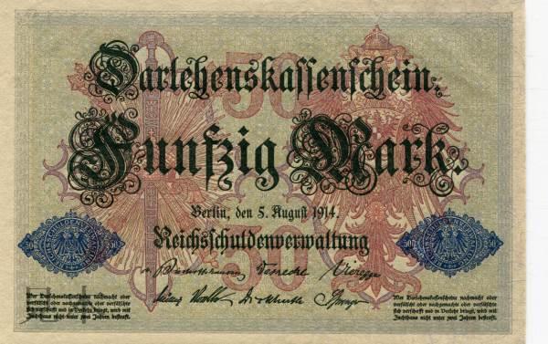 帝政ドイツ 第二帝国時代 50 Mark ゲルマニア 7 digit serial 1914年
