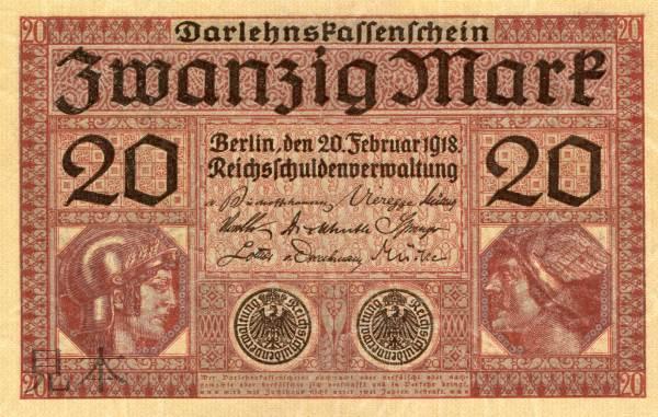 帝政ドイツ 第二帝国時代 20 Mark マーキュリー&ミネルバ 1918年
