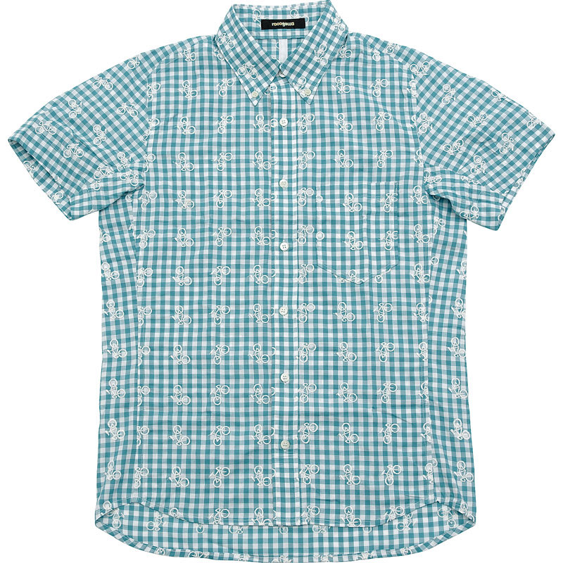ロコゴワ 半袖自転車シャツ ターコイズチェック メンズ
