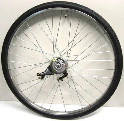 ワールド 26インチ リアホイール ステンレスリム 内装3段 ローラーブレーキ付(12C) タイヤチューブセット