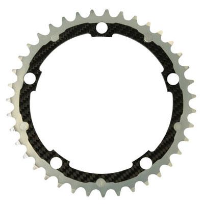 CarbonTi チェーンリング 130mm インナー (シマノ用) 39T シルバー 【自転車】【ロードレーサーパーツ】【PCD130mm用チェーンリング】【CarbonTi】