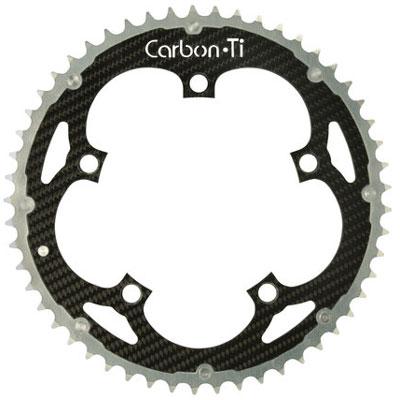 CarbonTi チェーンリング 130mm アウター (シマノ用) シルバー 【自転車】【ロードレーサーパーツ】【PCD130mm用チェーンリング】【CarbonTi】