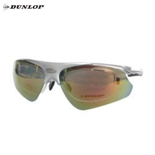 ダンロップ DU-002-5 メタリックシルバー (はね上げタイプ) 無料度付レンズ付きサングラス