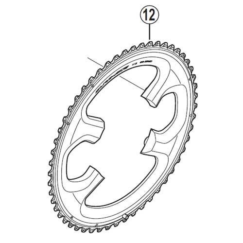 [12]引掛け歯付チェーンリング 55T-ME(55-42T用) 【自転車】【ロードレーサー用】【DURA-ACE】【FC9000用スモールパーツ】