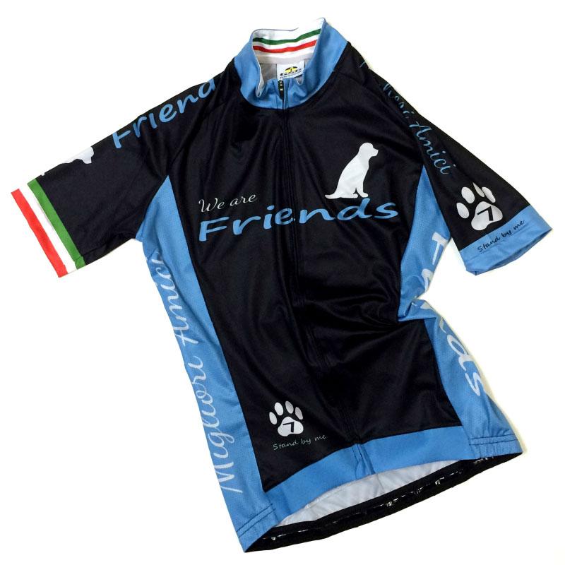 セブンイタリア Friends Dog レディース Jersey  ブラック/スカイ