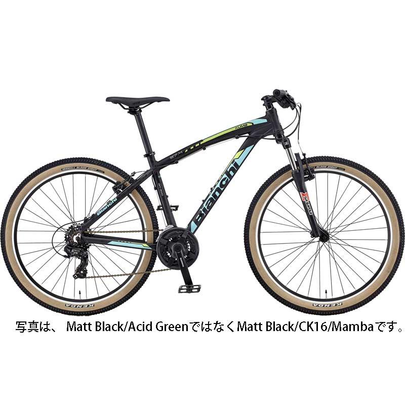 【送料無料】【代引不可】18ビアンキ KUMA 27.4 SHIMANO 3×7SP V-BRAKE Matt Black/Acid Green