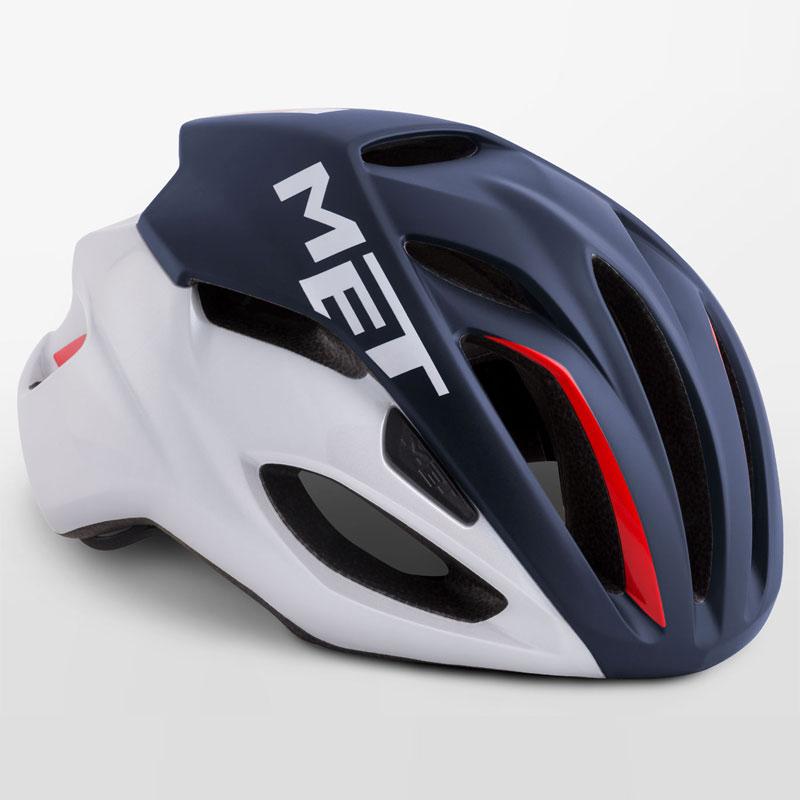 メット リヴァーレ HES ミッドナイトブルー×ホワイト×レッド ヘルメット