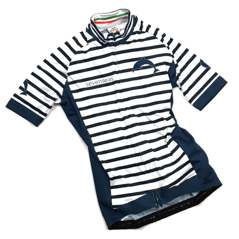 セブンイタリア Sevenseas Stripe レディース Jersey ホワイト/ネイビー