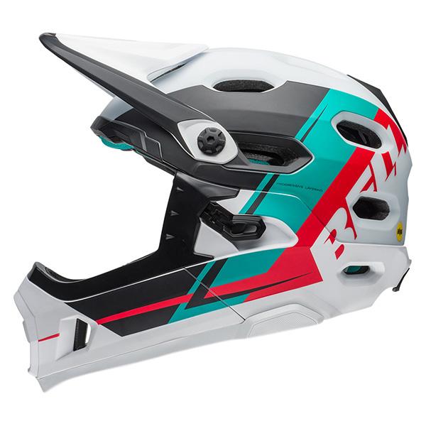 ベル スーパー DH MIPS マットホワイト/エメラルド/ハイビスカスリコース ヘルメット