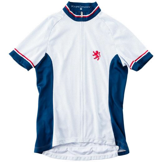 カペルミュール レディース 半袖プチドットジャージ ホワイト×ブルー
