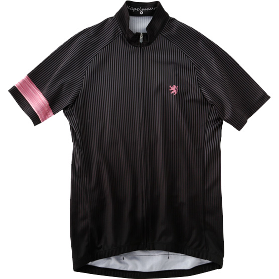 カペルミュール 半袖ストライプジャージ ブラック×ピンク
