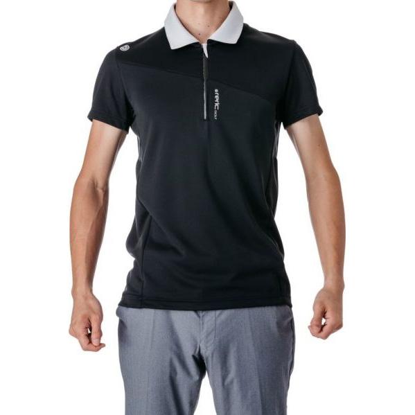 レリック ハーフジップ 半袖ポロシャツ ブラック