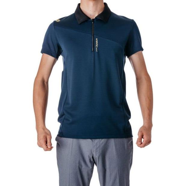 レリック ハーフジップ 半袖ポロシャツ ネイビー