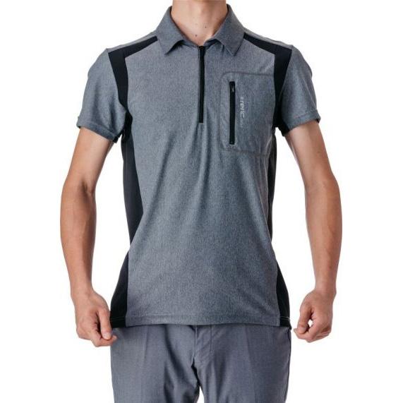 レリック ハイストレッチ ハーフジップ 半袖ポロシャツ グレー