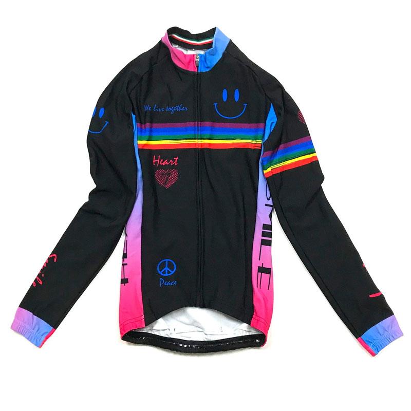 セブンイタリア Neo Rainbow Smile Lady LS Jersey ブラック
