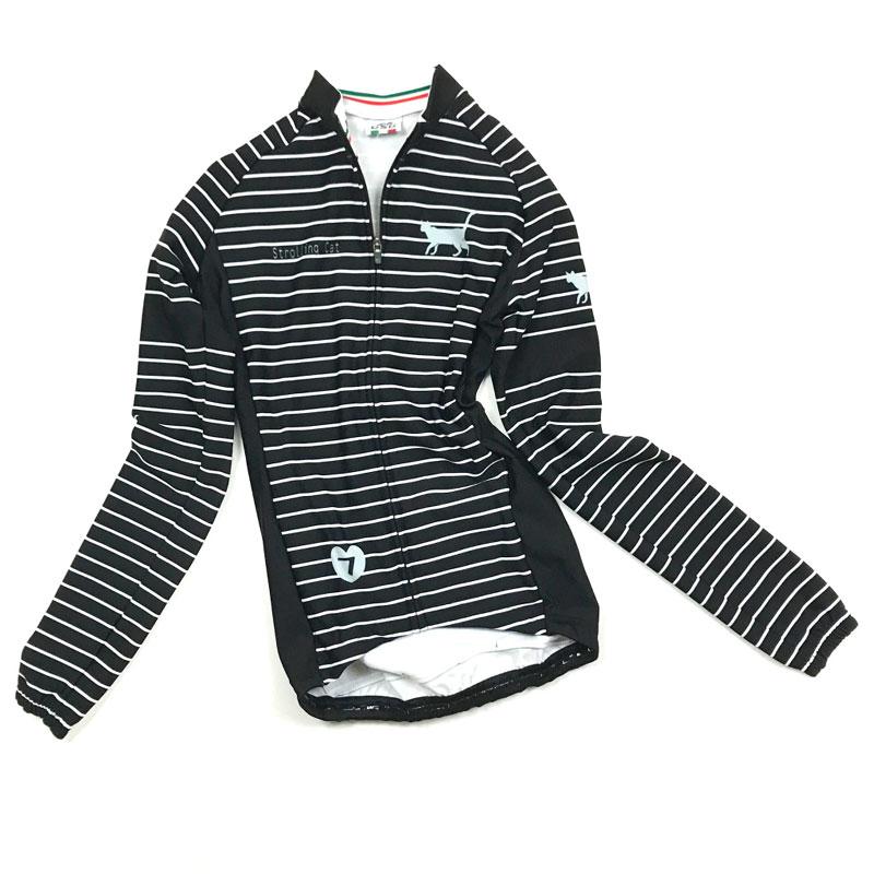 セブンイタリア Strolling Cat Stripe Lady LS Jersey ブラック/グレー