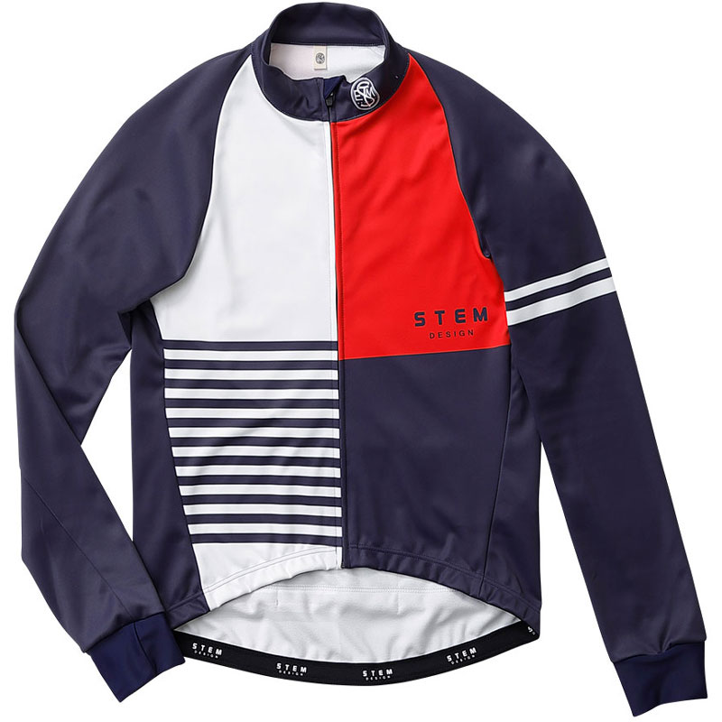 ステムデザイン サイクルジャケット長袖 (防風・裏起毛) ウインドブレークジャケット(クレージーパターン) ネイビー