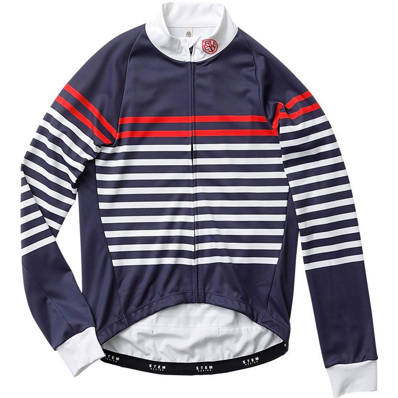 ステムデザイン サイクルジャケット長袖 (防風・裏起毛) ウインドブレークジャケット(フレンチ ボーダー) ネイビー