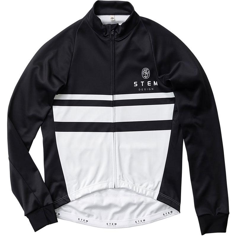 ステムデザイン サイクルジャケット長袖 (防風・裏起毛) ウインドブレークジャケット(モノトーン) ブラック