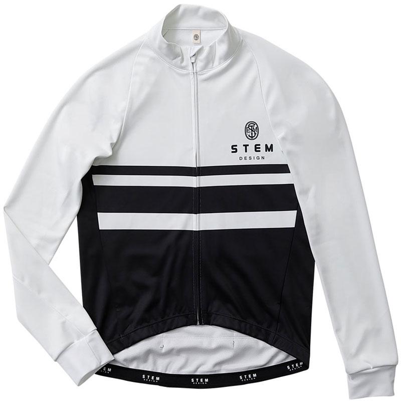 ステムデザイン サイクルジャケット長袖 (防風・裏起毛) ウインドブレークジャケット(モノトーン) ホワイト