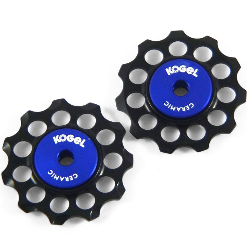 コゲル Aluminum derailleur pulleys with ceramic bearings ブラック/ブルー