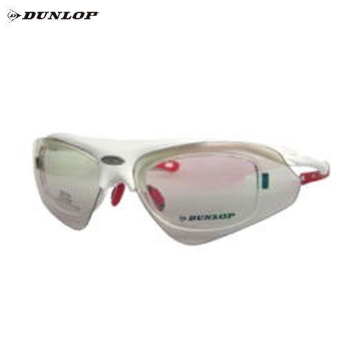 ダンロップ DU-002-3 シャイニーホワイト (はね上げタイプ) 無料度付レンズ付きサングラス【自転車】