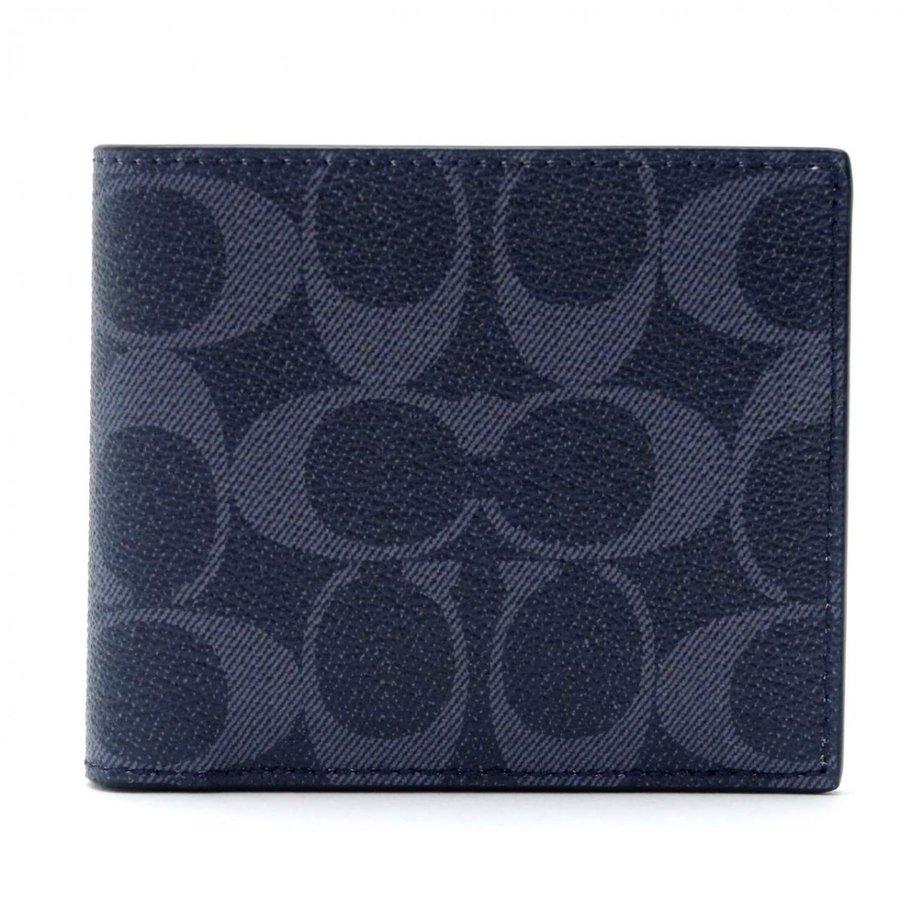 【新品】コーチ COACH メンズ 二つ折り財布 カードケース シグネチャー レザー 66551QBDEN アウトレット コーチギフトボックス付き