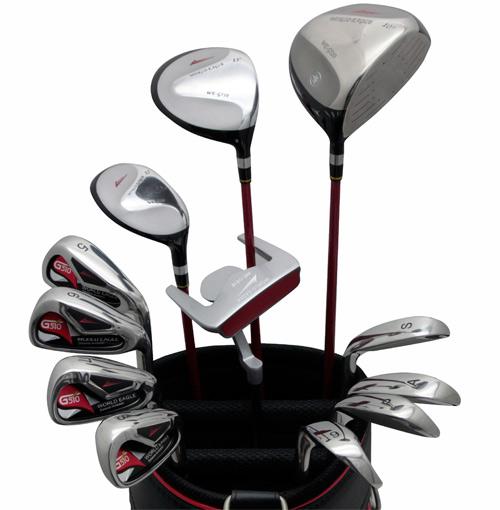 展示品アウトレット!黒と赤のコントラストが映える!メンズ16点ゴルフクラブセット 右用/フレックスR【初心者 初級者 ビギナー】【訳あり】