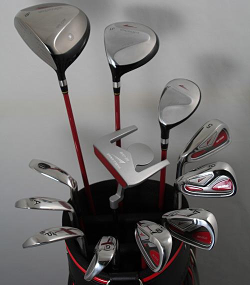 展示品アウトレット!印象的なパターがゴルフを楽しくさせる!メンズ16点ゴルフクラブセット 左用/フレックスR【初心者 初級者 ビギナー】【訳あり】