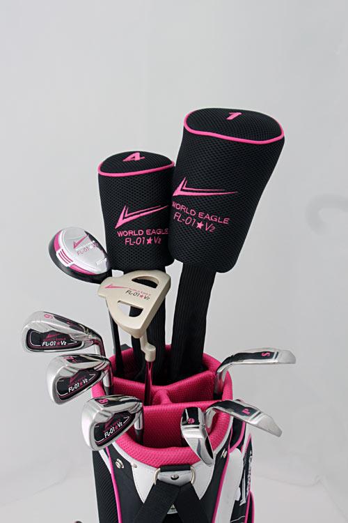 전시물 블랙 핑크 ROCK'N'ROLL! ☆ 여성 13 점 골프 클럽 세트 fs3gm