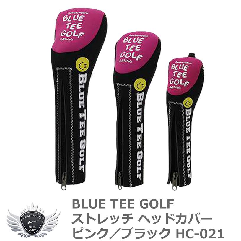 ゴルフを楽しく BLUE TEE GOLF 年中無休 ブルーティーゴルフ ブラック HC-021 ピンク 国際ブランド ストレッチヘッドカバー