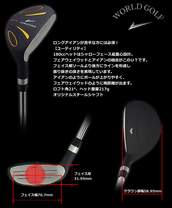 World Eagle 5Z+F01 α-stand back Black & Black 14 point Club sets right for men