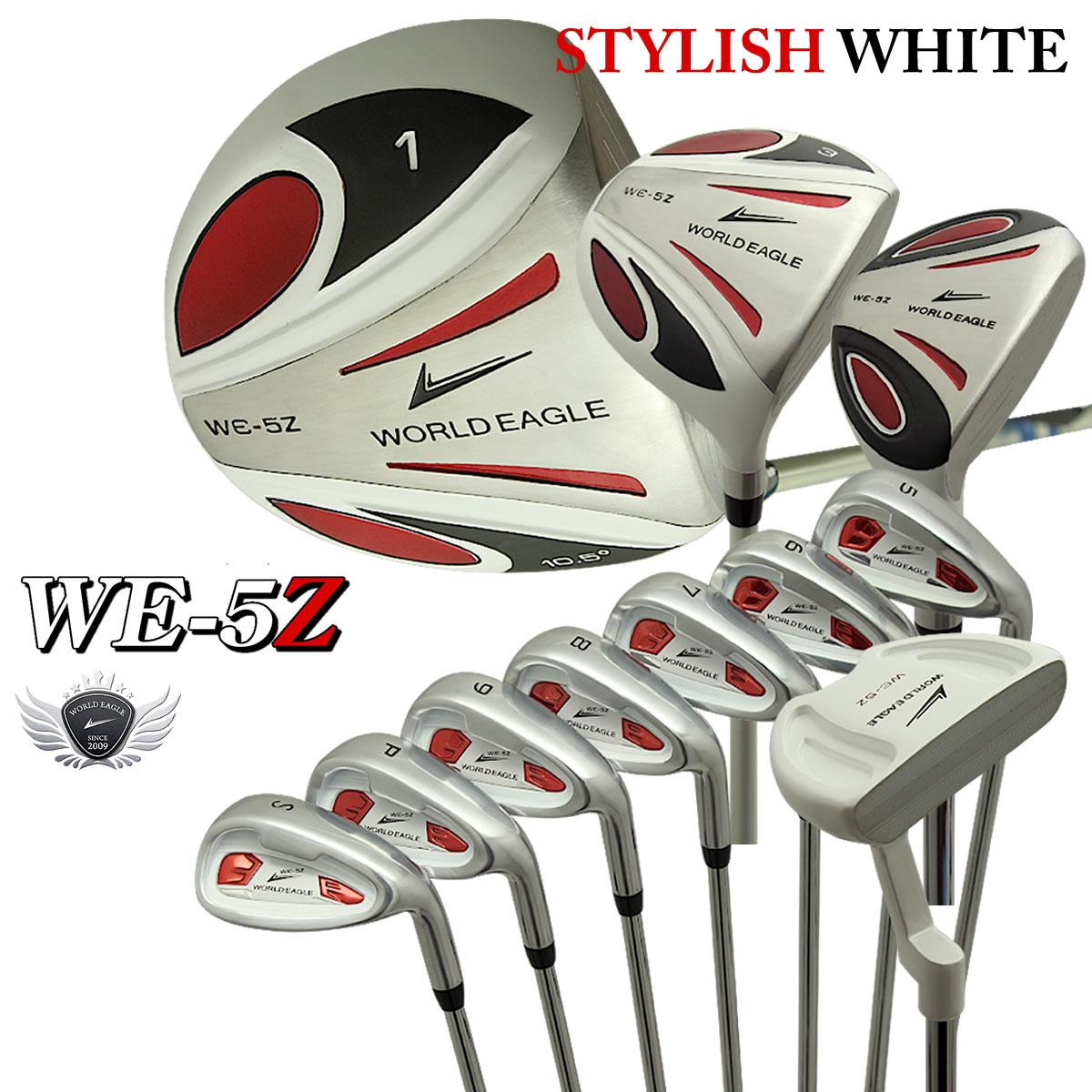 월드이 글 5Z 화이트 남성 골프 클럽 세트 13 점 세트