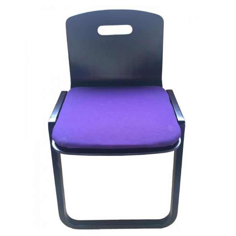 鈴木木工所 背もたれつき本堂用椅子曲足 黒 代引き不可