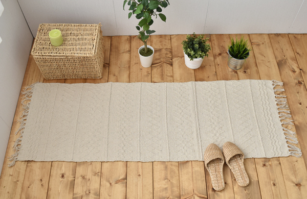 Kitchen rug 150 cm India cotton off-white (waves) 50 x 150 cm cotton natural gadgets kitchen Interior summer Asian ethnic simple plain gadgets Interior Northern