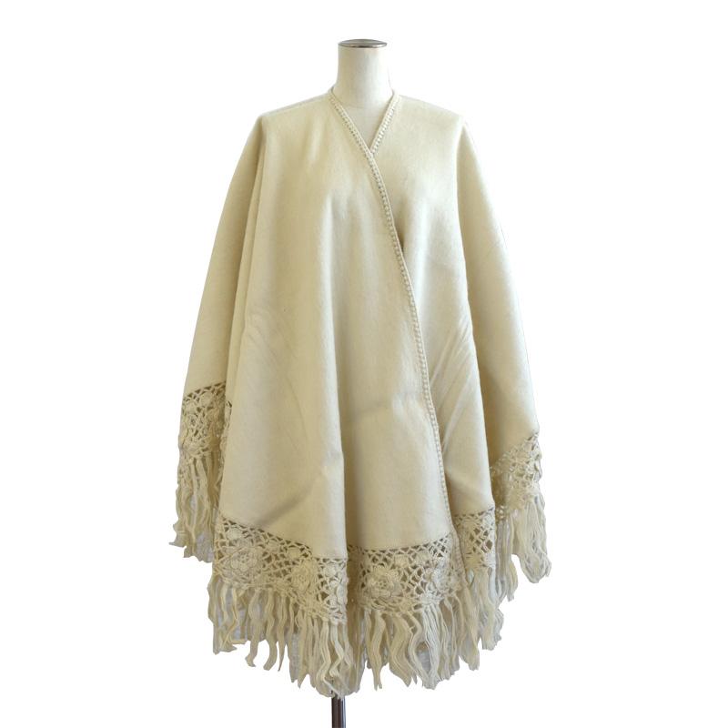 アルパカ 100% ポンチョ 刺繍 ショール レディース 高品質 ペルー製 シンプル ROYAL ALPACA