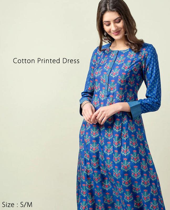 ワンピース かわいい プリント アジアン エスニック ドレス ロング丈 ブルー インド ファブインディア Fab India