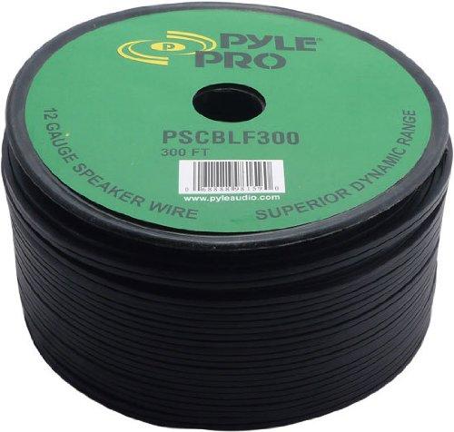 Pyle 12-AWG スピーカーケーブル 91.44m巻 黒ラバージャケット- PSCBLF300
