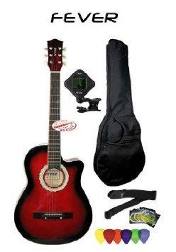 Fever (フィーバー) 3/4 Size Acoustic Cutaway Guitar Packages Redburst FV-030C-DRD-PACK アコーステ
