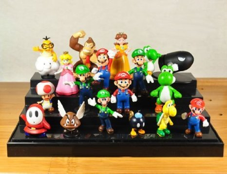 Super Mario (スーパーマリオ) Bros Figure Toy 18pcs Doll 1-3