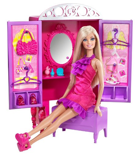 バービーBarbie Dress-Up To Make-Up Closet and Barbie Doll Set  T7183