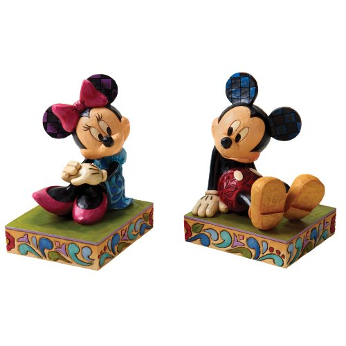 Traditions by Jim Shore Mickey and Minnie Bookends 7-Inch ミッキー/ミニー ディズニーフィギュア