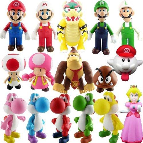 Super Mario スーパーマリオ Bros PVC Figure Collectors Set of 16 フィギュア 人形 おもちゃ