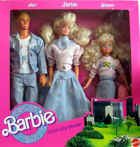 Barbie バービー Denim Fun Set Cool City Blues! w Ken, Barbie バービー & Skipper Dolls (1989) 人形
