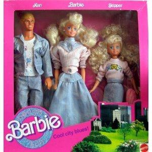 Barbie Denim Fun Set Cool City Blues w Ken, Barbie & Skipper Dolls (1989)
