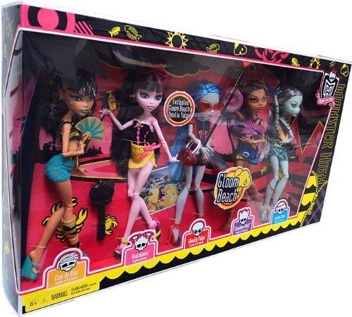 Monster High モンスターハイ Gloom Beach Doll 5Pack Cleo de Nile, Draculaura, Clawdeen Wolf, Franki