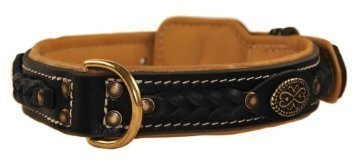 Dean & Tyler Dean's Legend Leather Dog Collar with Brown Padding and Solid Brass Hardware 30 by 1-